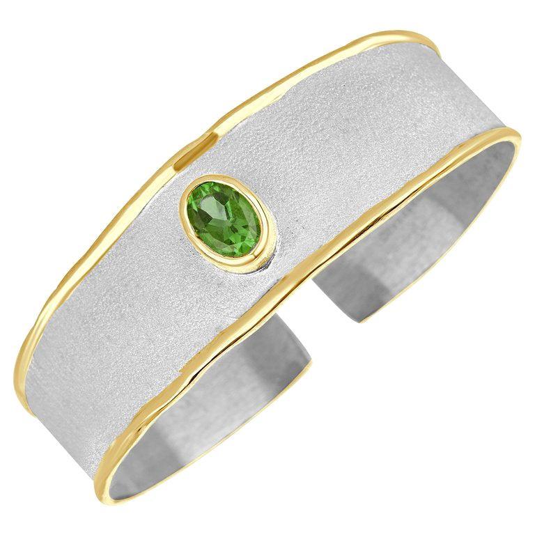 Yianni Creations Fine Silver and 24 Karat Gold Peridot Two-Tone Cuff Bracelet