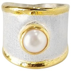 Yianni Creations Fine Silver and 24 Karat Gold Solitaire Pearl Wide Band Ring