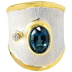 Yianni Creations Fine Silver and 24 Karat Gold Topaz and Diamond Wide Band Ring