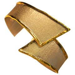 Yianni Creations Fine Silver and 24 Karat Gold Two-Tone Bangle Cuff Bracelet
