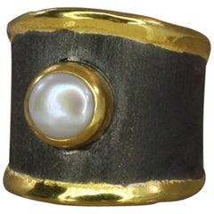 Yianni Creations Fine Silver and 24 Karat Gold Two-Tone Pearl Ring Black Rhodium