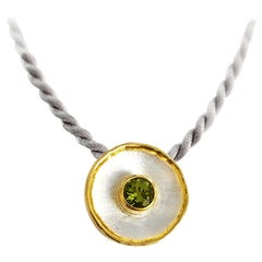 Yianni Creations Fine Silver and 24 Karat Gold Two-Tone Round Pendant Enhancer