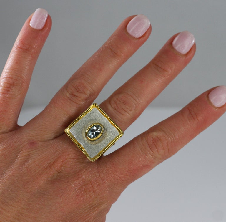 Yianni Creations Aquamarine Fine Silver and 24 Karat Gold Two-Tone Square Ring For Sale 3