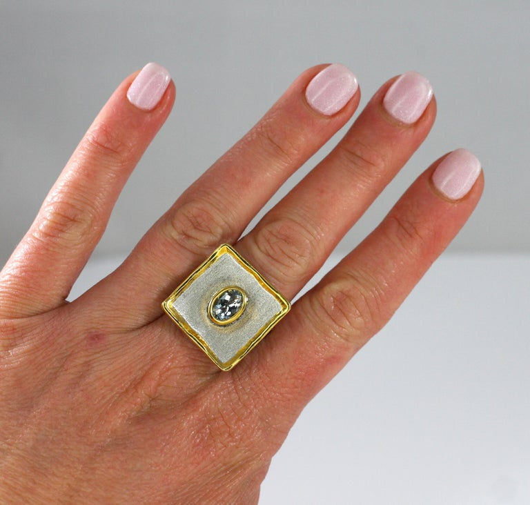 Contemporary Yianni Creations Aquamarine Fine Silver and 24 Karat Gold Two-Tone Square Ring For Sale
