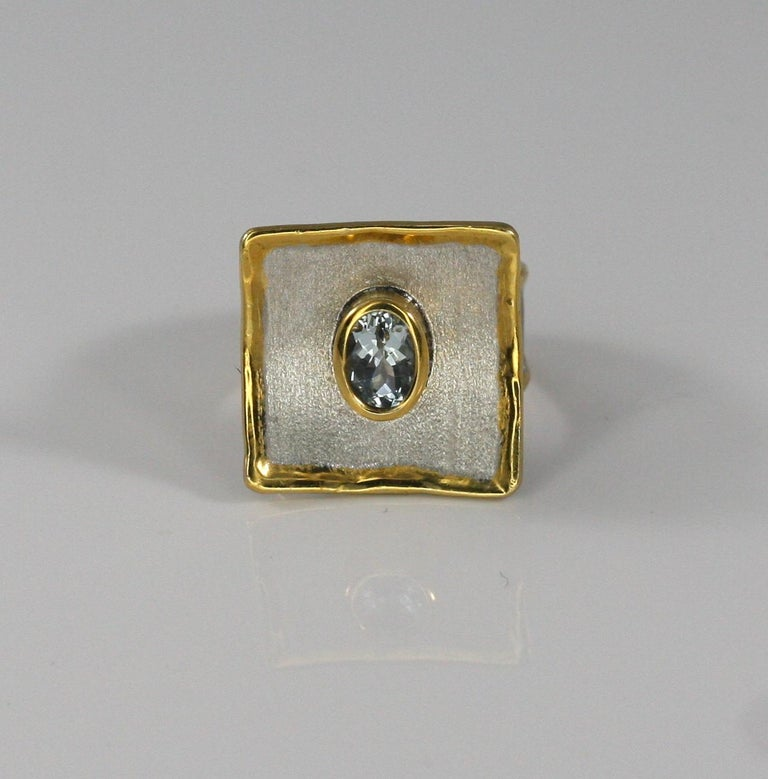 Oval Cut Yianni Creations Aquamarine Fine Silver and 24 Karat Gold Two-Tone Square Ring For Sale