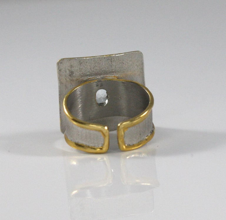 Yianni Creations Aquamarine Fine Silver and 24 Karat Gold Two-Tone Square Ring In New Condition For Sale In Astoria, NY