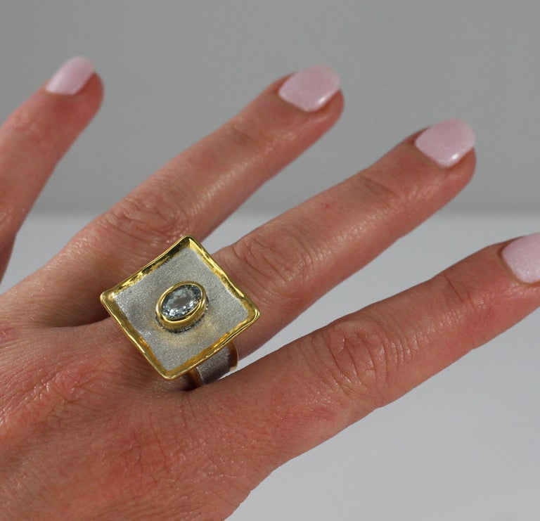 Women's Yianni Creations Aquamarine Fine Silver and 24 Karat Gold Two-Tone Square Ring For Sale