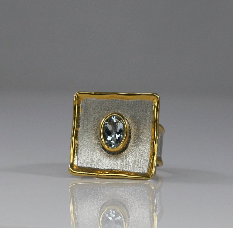 Yianni Creations Aquamarine Fine Silver and 24 Karat Gold Two-Tone Square Ring For Sale 1