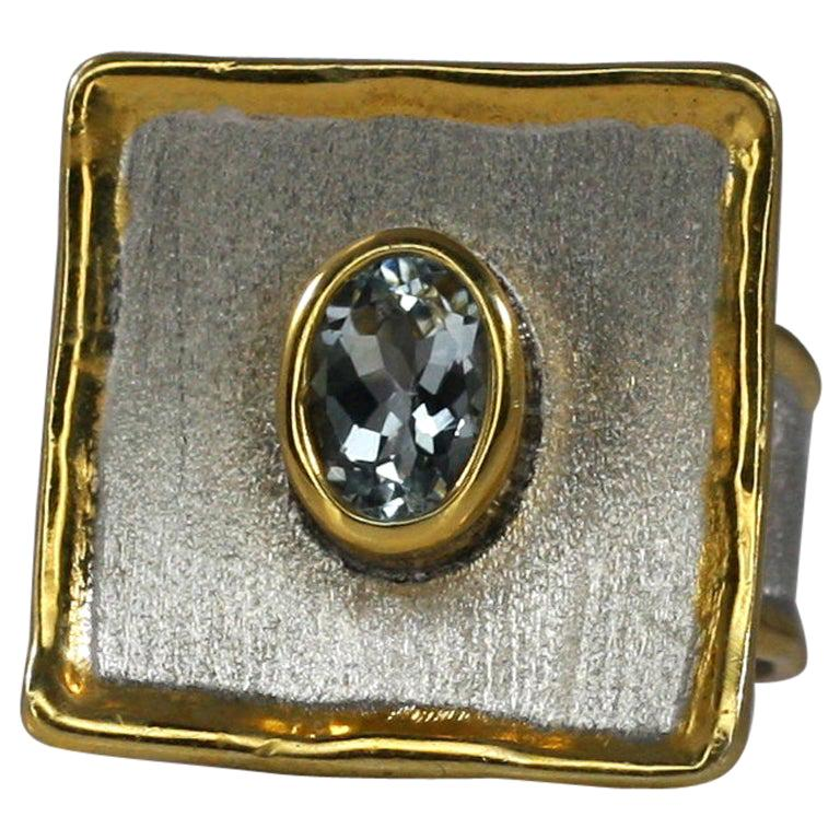 Yianni Creations Aquamarine Fine Silver and 24 Karat Gold Two-Tone Square Ring For Sale