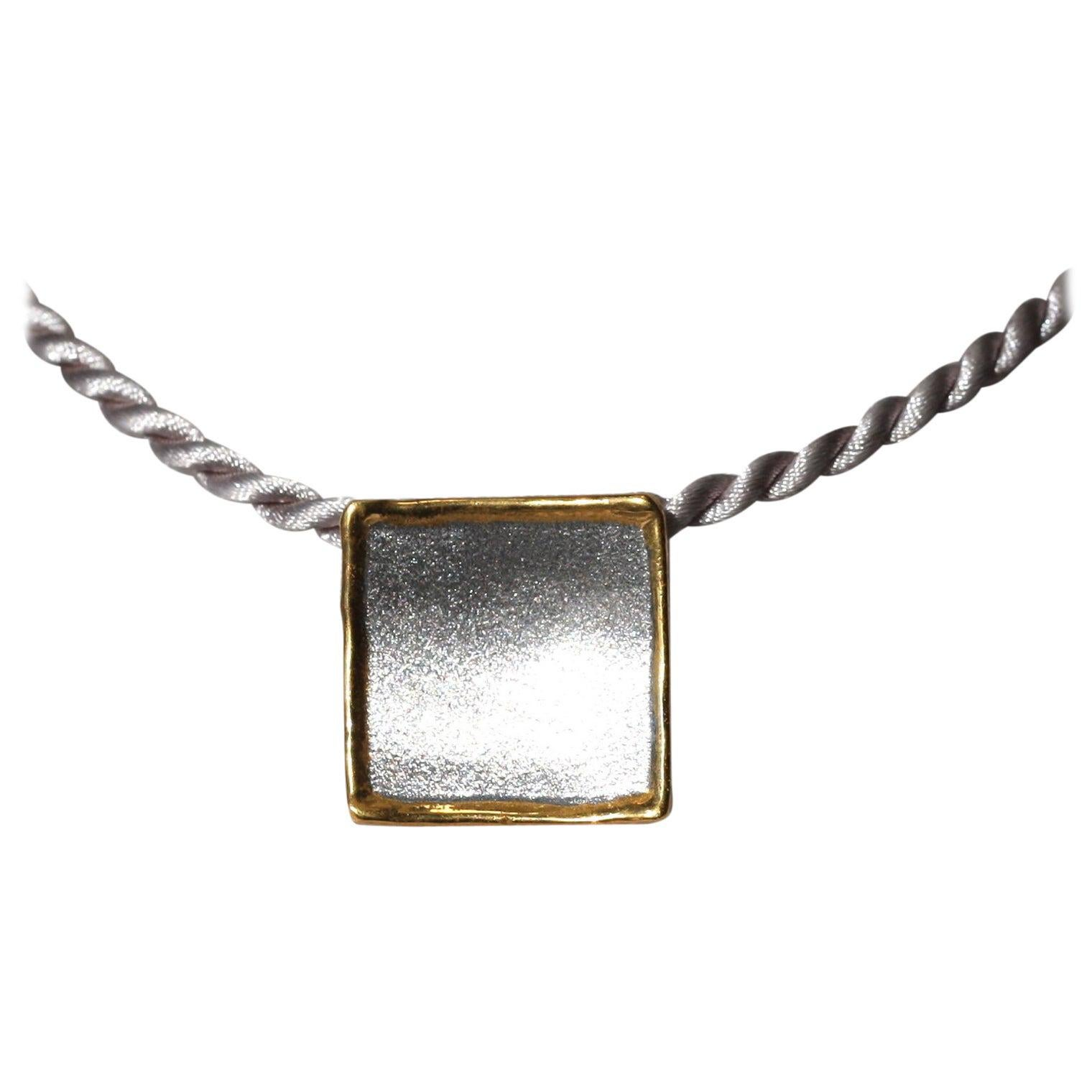 Yianni Creations Fine Silver and 24 Karat Gold Two-Tone Square Pendant Enhancer