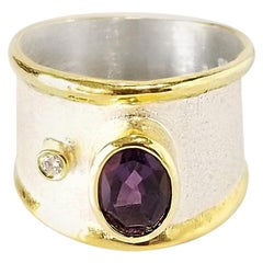 Yianni Creations Fine Silver and 24 Karat Yellow Gold Amethyst and Diamond Ring