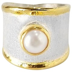 Yianni Creations Fine Silver and 24K Gold Pearl Solitaire Two-Tone Band Ring