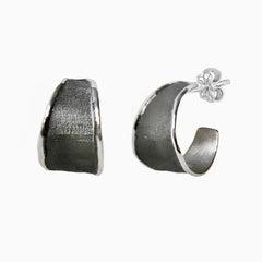 Yianni Creations Fine Silver and Black Rhodium Handmade Hoop Earrings
