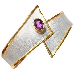 Yianni Creations Fine Silver and Gold 24 Karat Edges Two-Tone with Amethyst