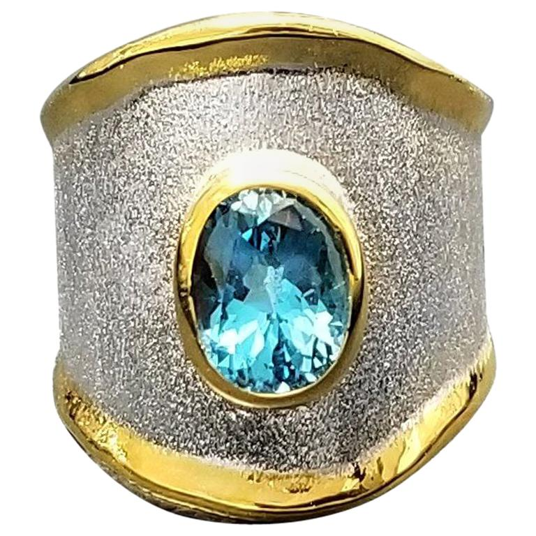 Yianni Creations London Blue Topaz Fine Silver and Gold 24 Karat Wide Band Ring