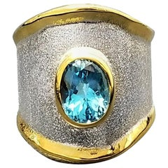 Yianni Creations Fine Silver and Gold 24 Karat London Blue Topaz Band Ring