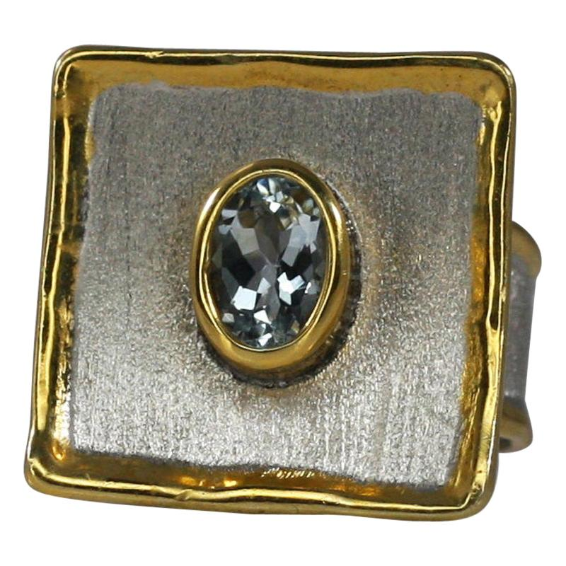 Yianni Creations Aquamarine Fine Silver and Gold 24 Karat Two-Tone Square Ring