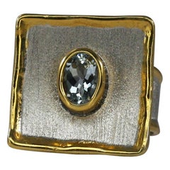 Yianni Creations Fine Silver and Gold 24 Karat Two-Tone Aquamarine Ring