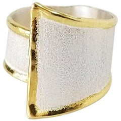 Yianni Creations Fine Silver and Gold Adjustable Wide Two-Tone Band Ring