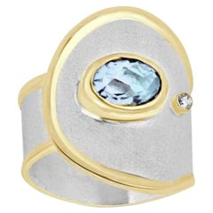 Yianni Creations Fine Silver and Gold Aquamarine Diamond Adjustable Band Ring
