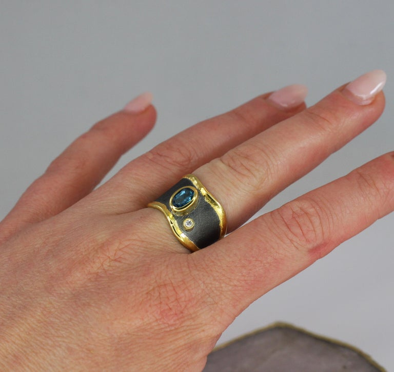 Yianni Creations Blue Topaz Diamond Fine Silver and Gold Two-Tone Wide Band Ring For Sale 2