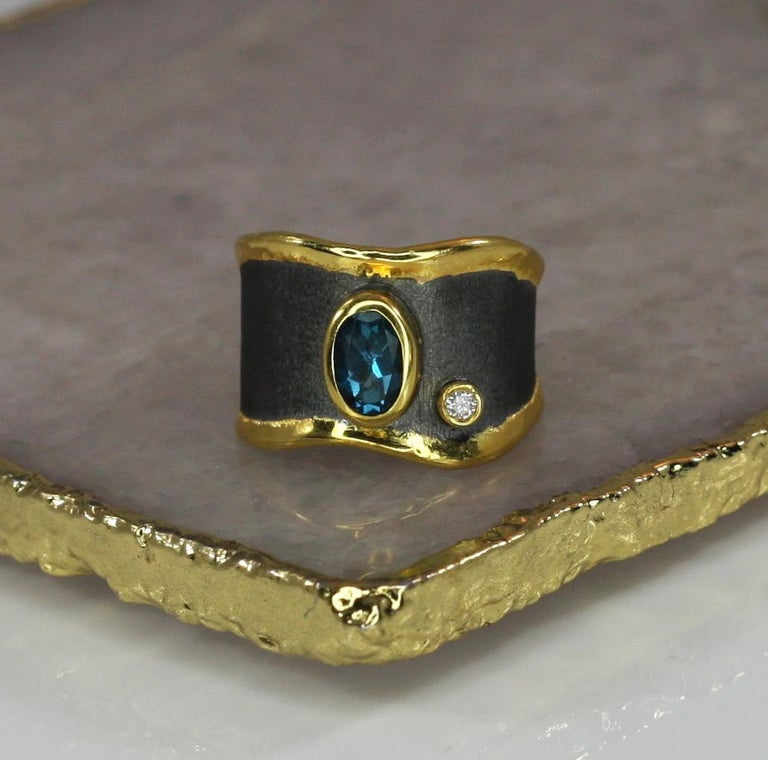 Yianni Creations Blue Topaz Diamond Fine Silver and Gold Two-Tone Wide Band Ring For Sale 4