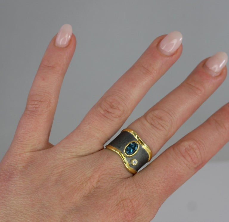 Yianni Creations Blue Topaz Diamond Fine Silver and Gold Two-Tone Wide Band Ring For Sale 5