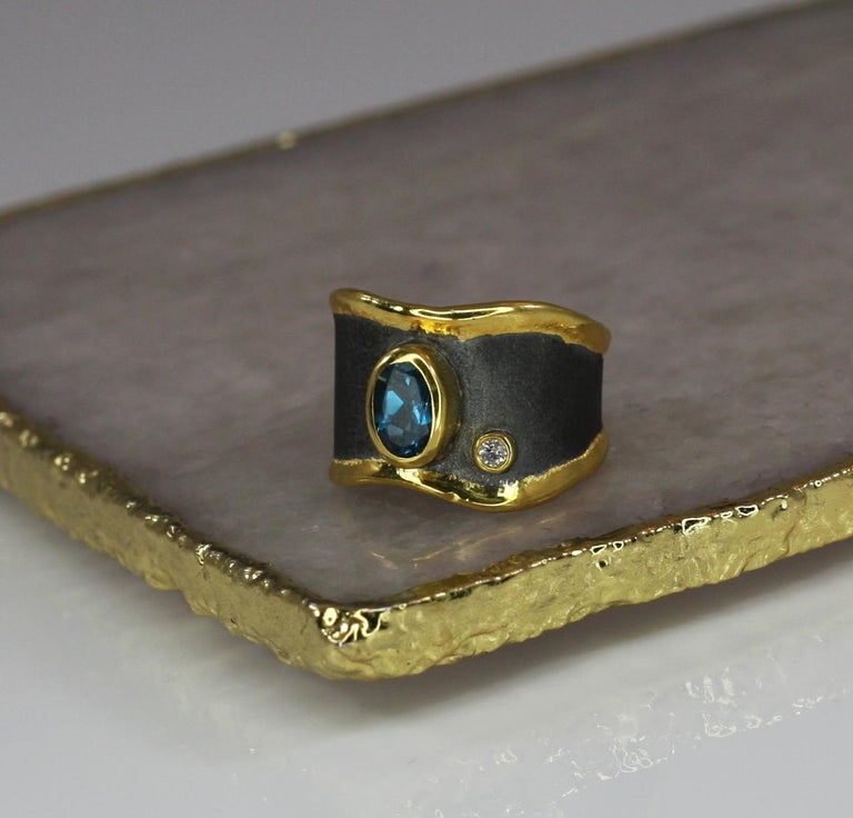 Oval Cut Yianni Creations Blue Topaz Diamond Fine Silver and Gold Two-Tone Wide Band Ring For Sale