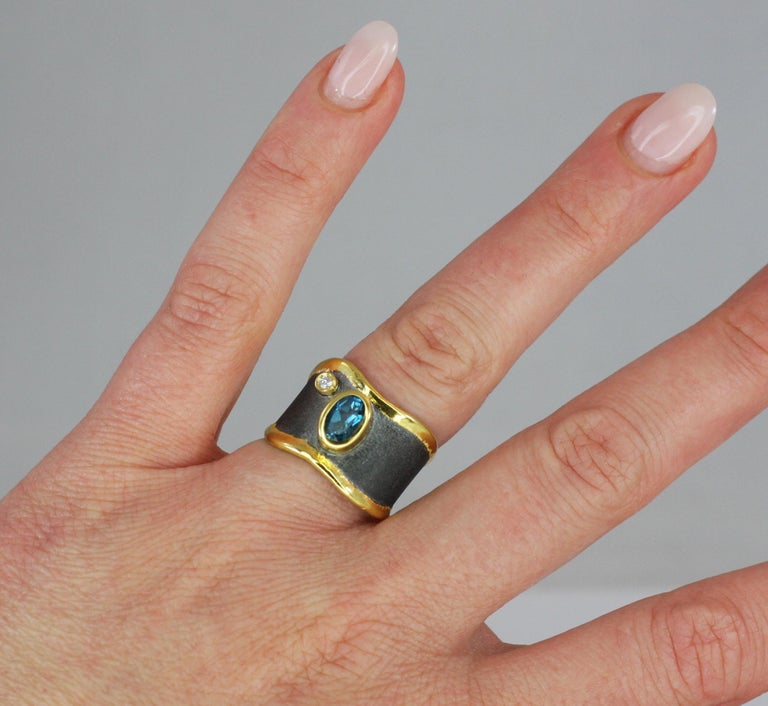 Contemporary Yianni Creations Blue Topaz Diamond Fine Silver and Gold Two-Tone Wide Band Ring For Sale