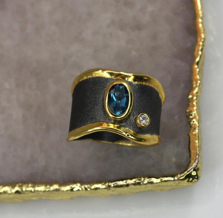 Yianni Creations Blue Topaz Diamond Fine Silver and Gold Two-Tone Wide Band Ring In New Condition For Sale In Astoria, NY