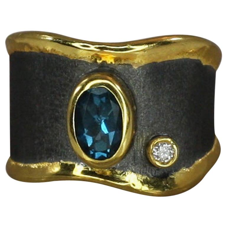 Yianni Creations Blue Topaz Diamond Fine Silver and Gold Two-Tone Wide Band Ring For Sale
