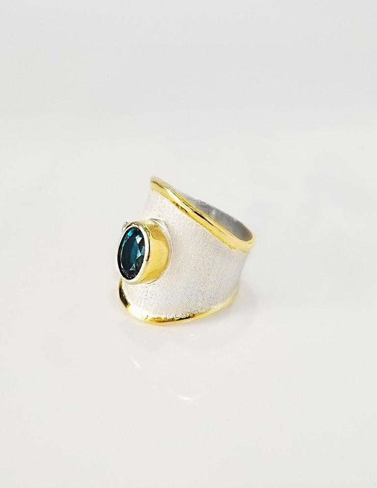 Oval Cut Yianni Creations London Blue Topaz and Diamond  Fine Silver and Gold Band Ring For Sale