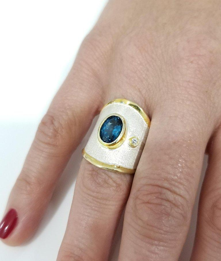 Contemporary Yianni Creations London Blue Topaz and Diamond  Fine Silver and Gold Band Ring For Sale