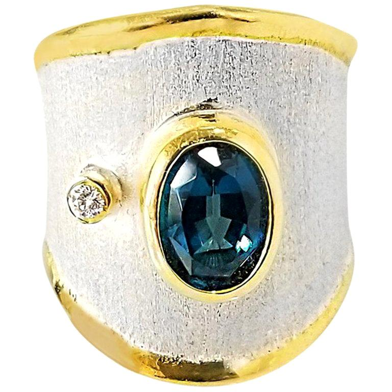Yianni Creations London Blue Topaz and Diamond  Fine Silver and Gold Band Ring For Sale