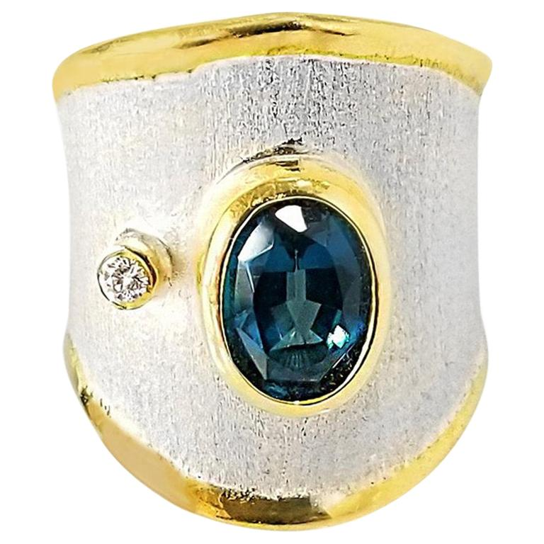 Yianni Creations London Blue Topaz and Diamond Fine Silver and Gold  Band Ring