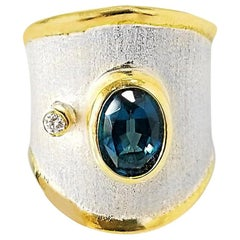 Yianni Creations Fine Silver and Gold London Blue Topaz and Diamond Band Ring