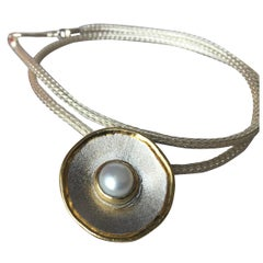 Yianni Creations Fine Silver and Gold Pearl Pendant with Rope Necklace