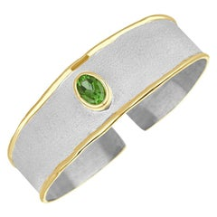 Yianni Creations Fine Silver and Gold Peridot Two-Tone Cuff Bangle Bracelet