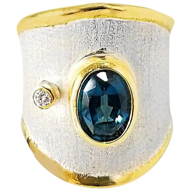 Yianni Creations Topaz and Diamond  Fine Silver and Gold Two-Tone Wide Band Ring