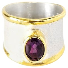 Yianni Creations Fine Silver and Gold Two-Tone Amethyst Wide Band Ring