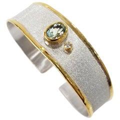 Yianni Creations Fine Silver and Gold Two-Tone Aquamarine Diamond Cuff Bracelet