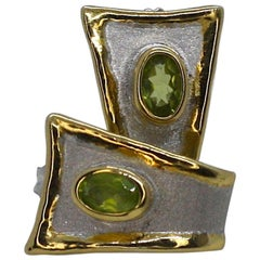 Yianni Creations Fine Silver and Gold Two-Tone Peridot Stud Earrings