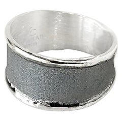 Yianni Creations Fine Silver and Oxidized Black Rhodium Artisan Band Ring