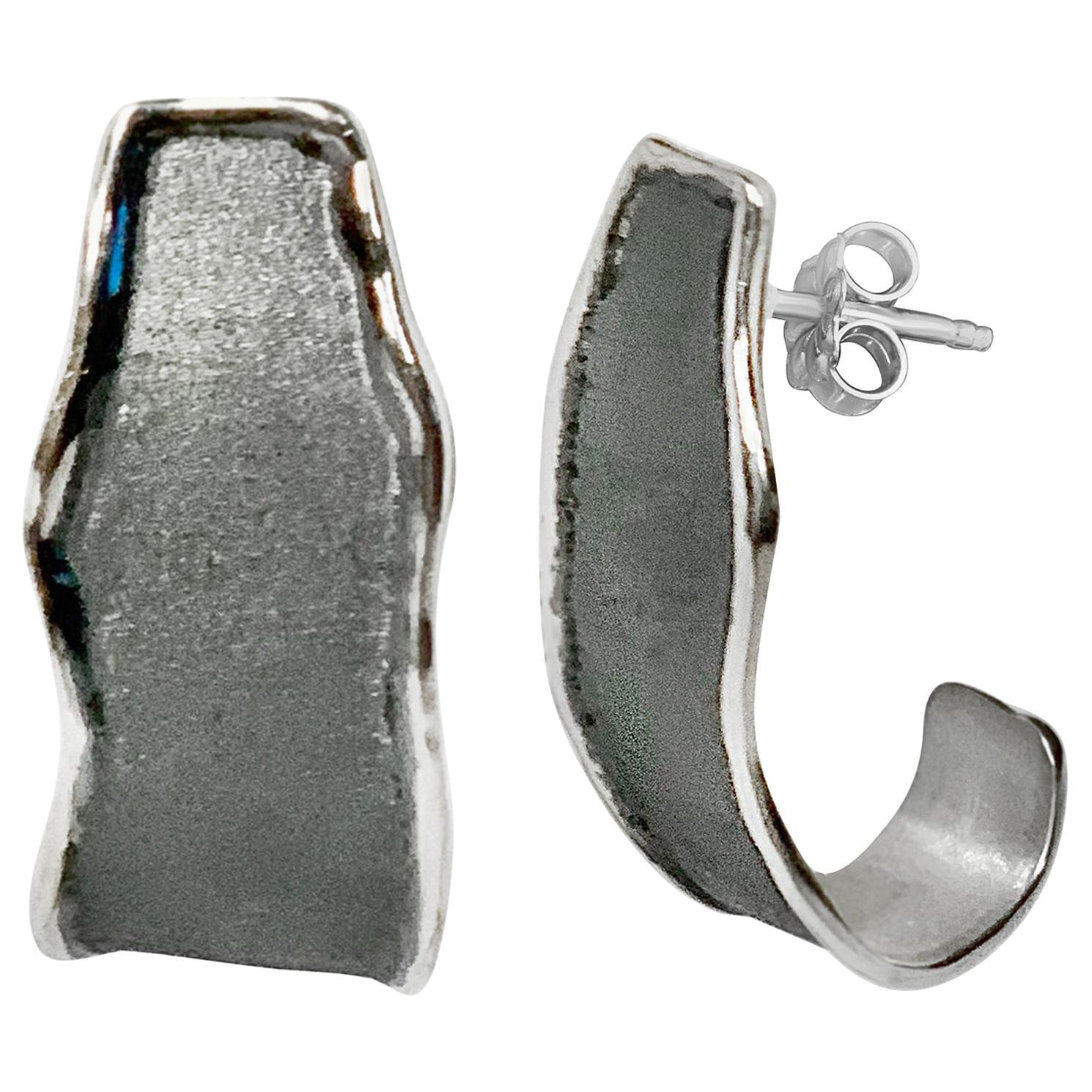 Yianni Creations Fine Silver and Black Rhodium Handmade Artisan Earrings