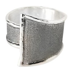 Yianni Creations Fine Silver and Oxidized Rhodium Geometric Ring