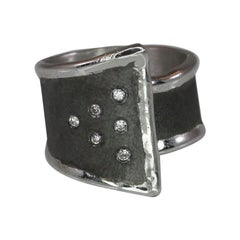 Yianni Creations Fine Silver and Oxidized Rhodium Geometric Ring with Diamonds