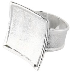 Yianni Creations Fine Silver and Palladium Square Artisan Ring