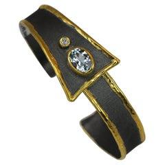 Yianni Creations Fine Silver Aquamarine Bracelet in Black Rhodium and Pure Gold