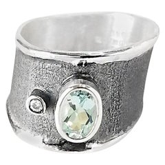 Yianni Creations Fine Silver Aquamarine Diamond Wide Two-Tone Band Ring
