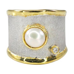 Yianni Creations Pearl  Fine Silver Diamond and 24 Karat Gold Wide Band Ring